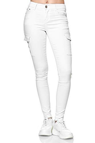 Elara Damen Cargo Jeans Slim Fit Seiten Taschen Chunkyrayan YA572 White-46 (3XL)