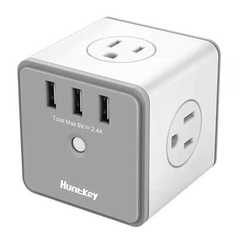 Huntkey SMC007 - Adaptador de Pared USB con 4 Tomas de Corriente AC y 3 Puertos de Carga USB