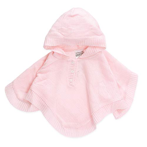 Nursery Time Baby Mädchen Poncho | Farbe: rosa | Baby Strick Poncho mit Kapuze für Neugeborene & Kleinkinder | Größe: 3-6 Monate (68)