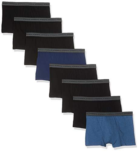 Athena Promo Maxi Lots, Mini Prix, Lots de 8 Boxers Basic Coton, Homme, Multicolore Bleu Chiné/Noir 9050), X-Large (Taille Fabricant:5)