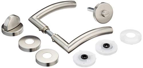 Alpertec 28020640 Edelstahl Peking II-R für Badtüren WC Drückergarnitur Türdrücker Türbeschläge Neu, für für Badezimmertüren