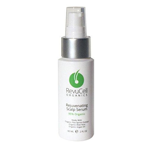 RevuCell Organics Hair Growth Rejuvenating Scalp Serum - for Men & Women - Vegan & Gluten Free - Hair Color & Keratin Safe with Organic Aloe Vera Pea Sprout Extract Lavender & Tea Tree Oil