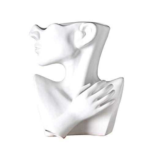 GYJ Cabeza Humana Creativa Maceta de Planta de cerámica Retro, Adornos de Retrato Simple Florero nórdico carnoso Maceta de Cemento para decoración de Sala de Estar