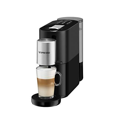 Krups XN8908 Nespresso Atelier Kaffeekapselmaschine | Milchaufschäumsystem direkt in der Tasse | Heiße+kalte Getränke | 1L Wassertank | inkl. Nespresso Glastasse+Kapseln | 19bar Druck | Schwarz/Silber