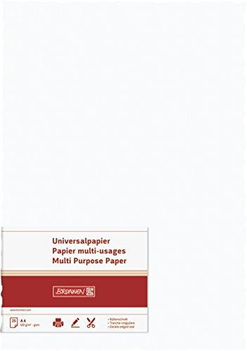 BRUNNEN 105127100 Universalpapier Büttenschnitt (A4, 120 g/qm, 25 Blatt) weiß