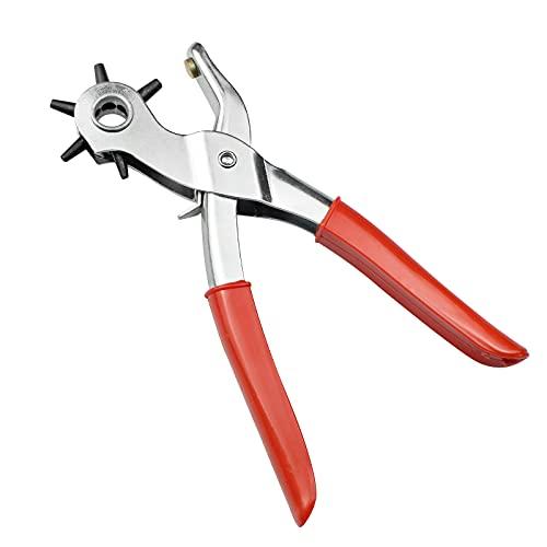YunBey Alicate Sacabocados para Cuero y Cinturon Herramientas para Cuero para Hacer Agujeros Cinturon Perforadora Cuero con Punzones de 2/2,5/3 /3,5/4 /4,5 mm