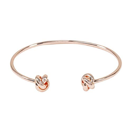 Knot Friendship Bangle Bracelet Plated With Real Silver And Rose Gold As Birthday Friends BFF Present Elegant Jewellery for Women Girls in Gift Box (Double Friendship Knot Bangle - Rose Gold)