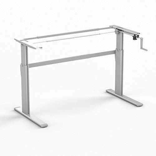 Worktrainer Sitz-Steh-Schreibtisch AluForce 110 - Handkurbel (Silber Frame/Ohne Tischplatte)