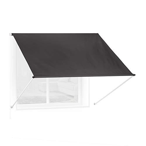 Relaxdays Fallarmmarkise HxB: 120x200 cm, Schattenspender Fenster, 50+ UV-Schutz, Seilzug, Polyester & Metall, anthrazit