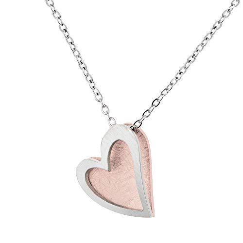 Ernstes Design Schmuck-Krone K814 - Collar con colgante de corazón, acero inoxidable chapado en oro rojo