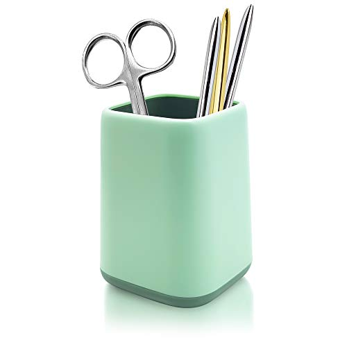 Dooke Desk Pen Holder, Two-Tone Cute Pencil Cup Makeup Brush Holder, Durable Desktop Storage Organizer Stationery Caddy for Office, Classroom, Home Supplies Mint Green