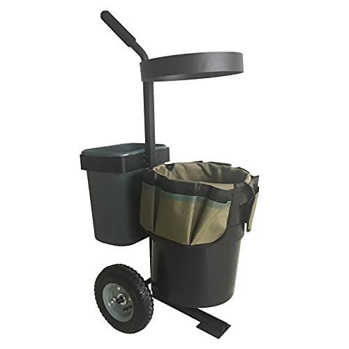 Heavy Duty Garden Lawn Wheeled Cart Trolley Mobile Gardening Rolling Transport Storage Steel Yard Caddy with 5 Gallon Bucket