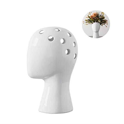 LHK Jarrón de cerámica con Forma de Cabeza, Maceta de jardinería, Recipiente escultórico, Maceta de Cemento, decoración del hogar, contenedor de Bonsai único y Moderno para contenedor de Flores