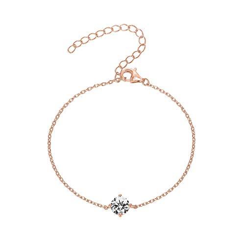 PAVOI 14K Gold Plated 925 Sterling Silver Cubic Zirconia Solitaire Diamond Bracelet | Bridesmaid Bracelets | Rose Gold Bracelets for Women