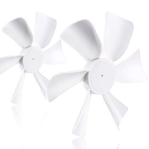 """2 Pack 6"""" Replacement White Vent Fan Blades for RV Bathroom Vent Fan, fits for Heng's, Elixir, Ventline and Jensen roof vents and range hoods or any 12 Volt motor with a 0.094-inch round-shaped shaft"""