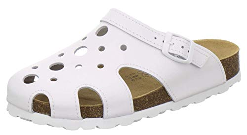 AFS-Schuhe 2993C Clogs Damen aus Leder, Bequeme Hausschuhe für Frauen, praktische Arbeitsschuhe, Made in Germany (38 EU, weiß)