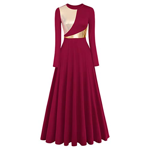 Praise Dance Dress Women Elegant Vintage Maxi Dress Casual Long Sleeve Wedding Party Dress Performance Modern Dance Christmas Show Dresses Hanukkah Outfit Worship Garment Wine Red+Gold XL