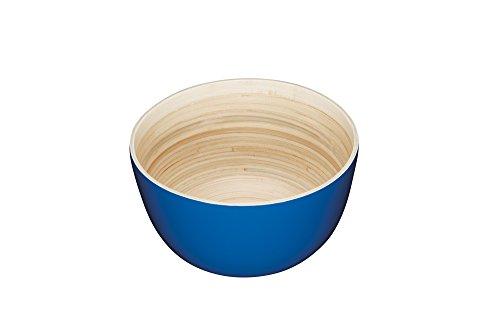 Kitchencraft WE Love Summer Bois Rond Bol de Service, Bambou, Bleu, 25 x 25 x 13.8 cm