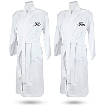 His and Hers Robes for Women and Men  Set of 2  - 100% Turkish Cotton Unisex Matching Mr and Mrs Gifts Pajamas for Couples Monogrammed Hotel Spa Bathrobe with Pockets Adjustable Belt  White