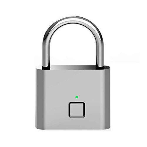 GANFANREN Nueva huella digital Candado-Smart bloqueo antirrobo sin llave biométrica de bloqueo de seguridad de carga USB Ideal for Valla Gimnasio equipaje Mochila Empleado Locker bicicletas Maleta cer