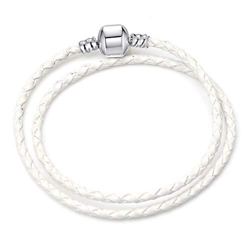 JIEERCUN Pulsera de Encanto Cadena de Serpiente de ratón Lindo Blanco Brazalete Básico Adecuado para Mujeres Charm de Moda con Cuentas de Bricolaje. brazaletes (Color : 21, Size : 18 cm)