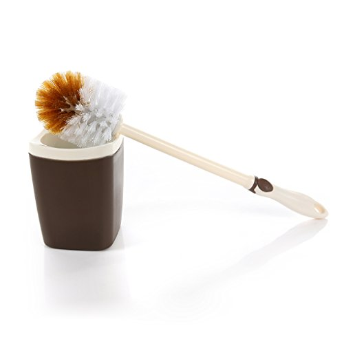 Brosse de toilette propre et créative Brosse à main en plastique Manche douille amovible Brosse de nettoyage de salle de bains Base ronde (Gris) ( Color : Brown )