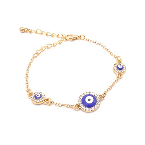BENAVA Damen Armband Nazar BONCUK – Freundschaftsarmband Türkisches Auge 15-20 cm Farbe Gold