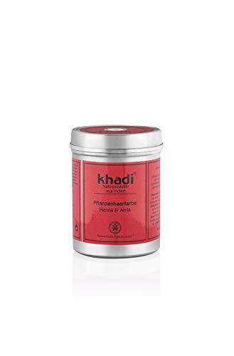khadi Pflanzenhaarfarbe Henna & Amla 100g I Haarfarbe kräftiges Rot bis Dunkelrot I Naturhaarfarbe 100% natürlich
