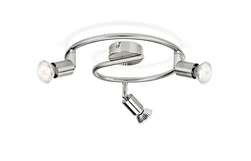 Philips Lighting Limbali Lampada Faretti a Spirale 3 Luci 3 x 50 W, Argento