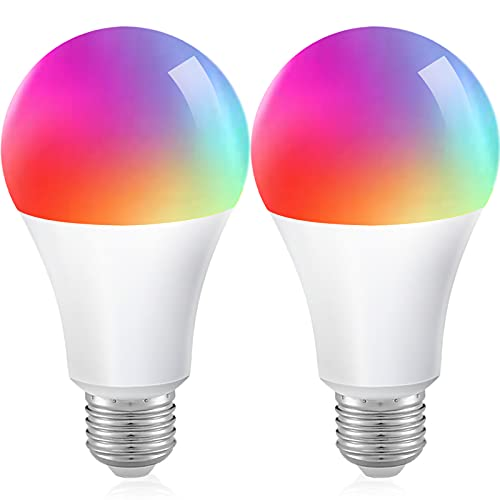 ZigBee Smart Glühbirne LED Lampe mit E27 Sockel Alexa Echo Glühbirnen Dimmbare 9W RGBCW 806LM 2700-6500K Farben Kein Hub Benötigt Kompatibel mit Philips Hue, SmartThings Hub, Amazon Alexa 2 PACK
