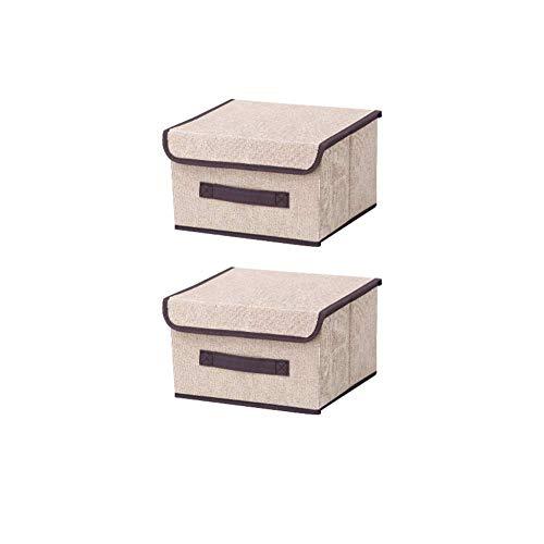 NAFE Contenedores de Almacenamiento con Tapa, contenedores de Almacenamiento de Lino Plegables, organice su Armario, contenedor de Almacenamiento Conveniente con Tapa, Paquete de 2, reg Beige-S