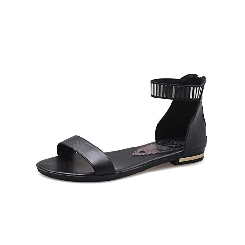 Donne Sandali Semplice Caviglia Cinturino Cerniera Peep Toe Estate Casual Elegante Quotidiano Flat Beach Scarpe