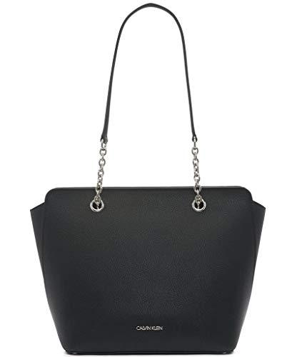 Calvin Klein Hailey Micro Pebble Top Zip Chain Tote, Black/Silver