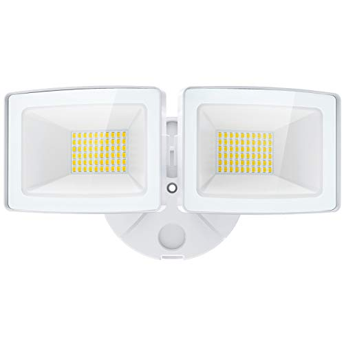 Olafus 5000LM LED Security Light, 50W Super Bright Flood Lights Outdoor, 2 Adjustable Heads, 6000K White Exterior Light, IP65 Waterproof Wall Mount Floodlights for Garage, Eave, Patio, Porch