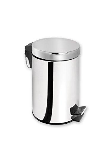 Home Poubelle avec pédale, 12 litres, métal, Noir, 28 x 26 x 40 cm