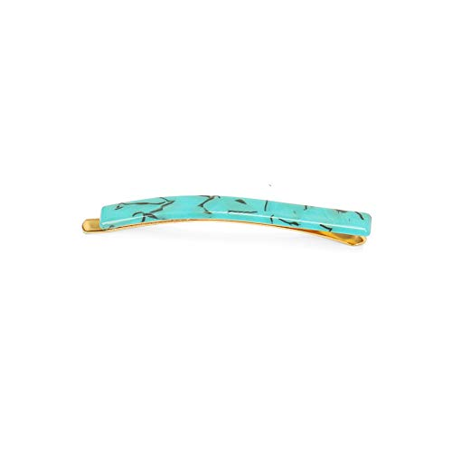 Glamorousky Simple and Fashion Plated Gold Light Green Pattern Geometric Rectangle Hair Clip