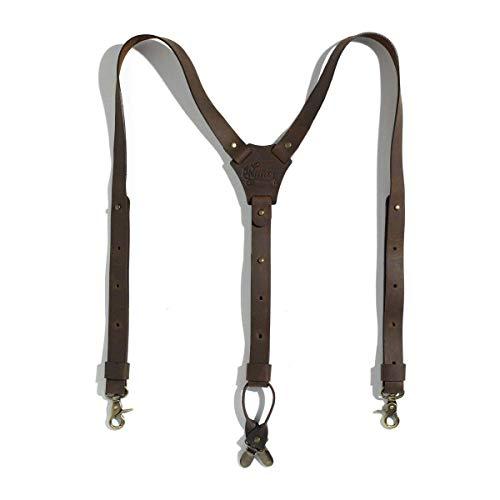 Wiseguy Wiseguy Leder-Hosenträger für Damen und Herren, 2,5 cm breit, hochwertig, handgefertigt.Leder-Hosenträger für Damen und Herren, 2,5 cm breit, hochwertig, handgefertigt. (Braun)