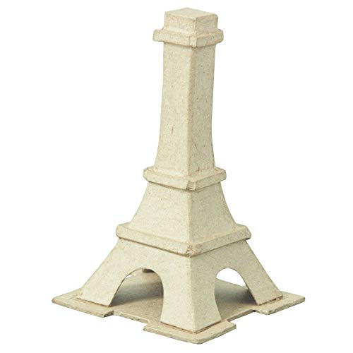Décopatch AC756C Eiffelturm klein aus Pappmaché, 12,5 x 12,5 x 7,5 cm, zum Verzieren, perfekt für Ihre Wohndeko, kartonbraun