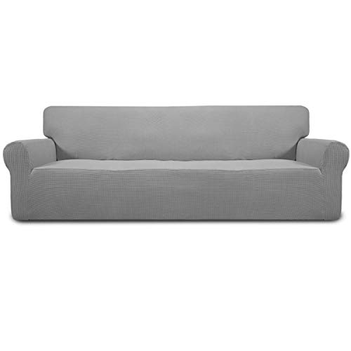 Easy-Going Stretch 4 Seater Sofa Slipcover 1-Piece Sofa Cover Furniture Protector Couch Soft with Elastic Bottom for Kids,Polyester Spandex Jacquard Fabric Small Checks (XX Large,Light Gray)