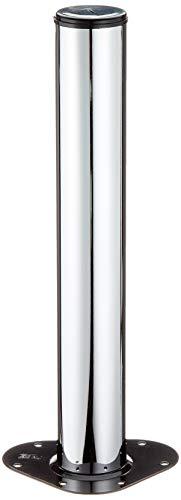 Element System 4 Stück Stahlrohrfüße rund, Tischbeine, Möbelfüße inklusive Anschraubplatte, Länge 40 cm, Durchmesser 60 mm, chrom, 11102-00017