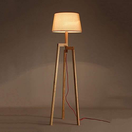 BJLWTQ Lámpara de pie, Se Enciende Piso de Madera Maciza Modernos nórdicos de pie luminarias for Sala de Estar Dormitorio Bulbo Libro Incluidos Luz para Leer,