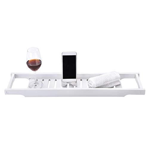 Badkuiprek wit, badkuipplank van MDF, dienblad voor badkuip, 69 x 16 x 40 cm