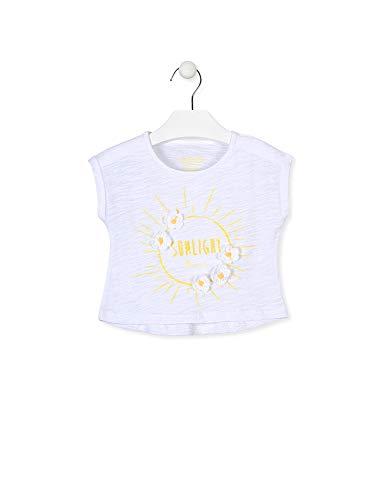 losan Kinder-Shirt für Mädchen, einfarbig, mit Aufdruck vorn, Pailletten und Häkeln., Weiß Medium