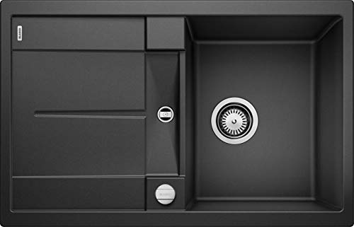 BLANCO METRA 45 S - Rechteckige Granitspüle für die Küche - für 45 cm breite Unterschränke - Mit integrierter Abtropffläche - aus SILGRANIT - Grau - 513035