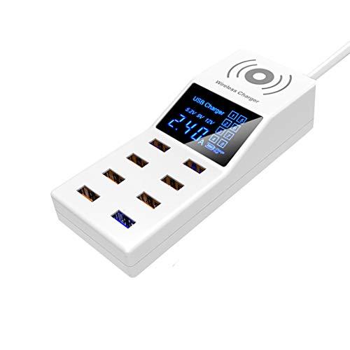 DEtrade - Caricatore da Viaggio con 8 Porte USB, Senza Fili, con indicatore di Carica Wireless EU, Bianco