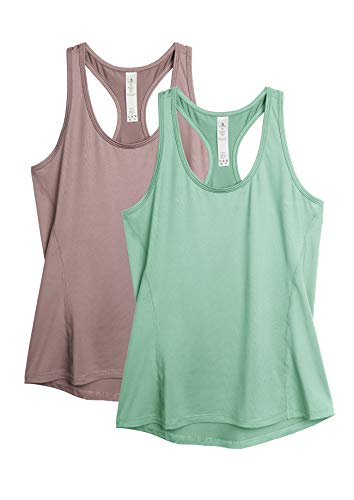 icyzone Damen 2-Pack Sport Tank Top Racerback Yoga Oberteile Fitness Gym Shirts (M, Hellbraun/Grün)
