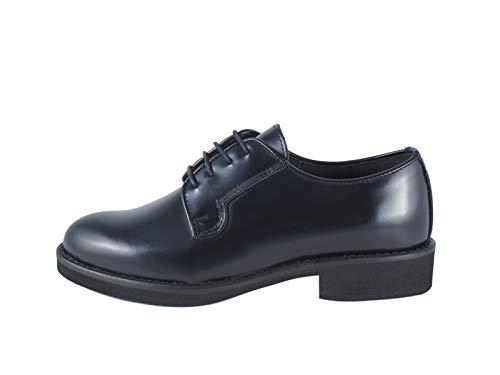 Zapato de mujer Derby liso de piel, con cordones, fabricado en Italia, Santa Lucía cepillado, negro Negro Size: 37 EU