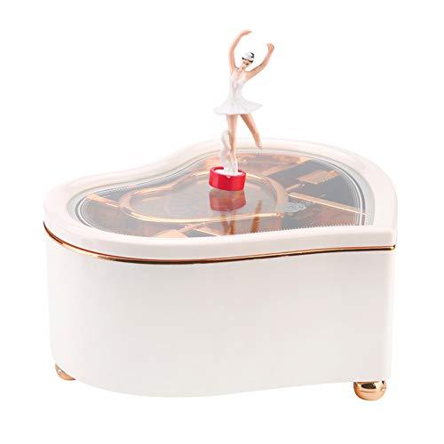 Fybida Adornos de Caja de música Caja de música giratoria Decoración de Escritorio Caja de música magnética Mesita de Noche en Forma de(YL2036 Peach Heart Medium*White)