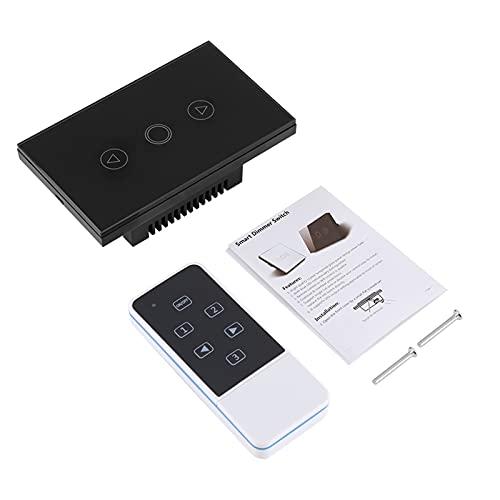 Regulador de luminosidad LED, interruptor táctil con control inalámbrico de cristal templado táctil sensible de alta calidad para lámparas comunes, color negro