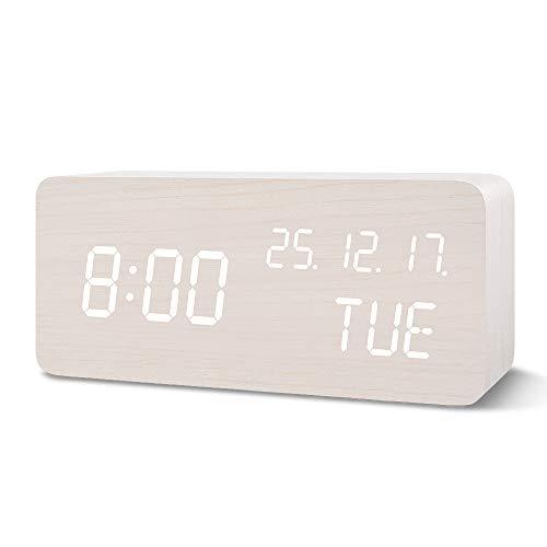 FiBiSonic Digital Wecker, LED Tischuhr Holz Wecker mit Sprachsteuerung/Snooze Funktion/Datum/Temperatur für Zuhause, Schlafzimmer Weiß
